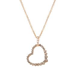 Lantisor din aur roz 18K cu pandantiv inima cu diamante 0,52 ct., model Orsini CI1623BW1