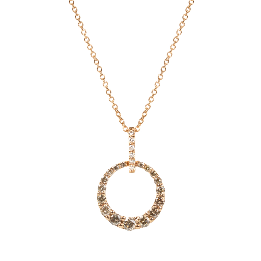 Lantisor din aur roz 18K cu pandantiv cu diamante 0,62 ct., model Orsini CI1640-BW1