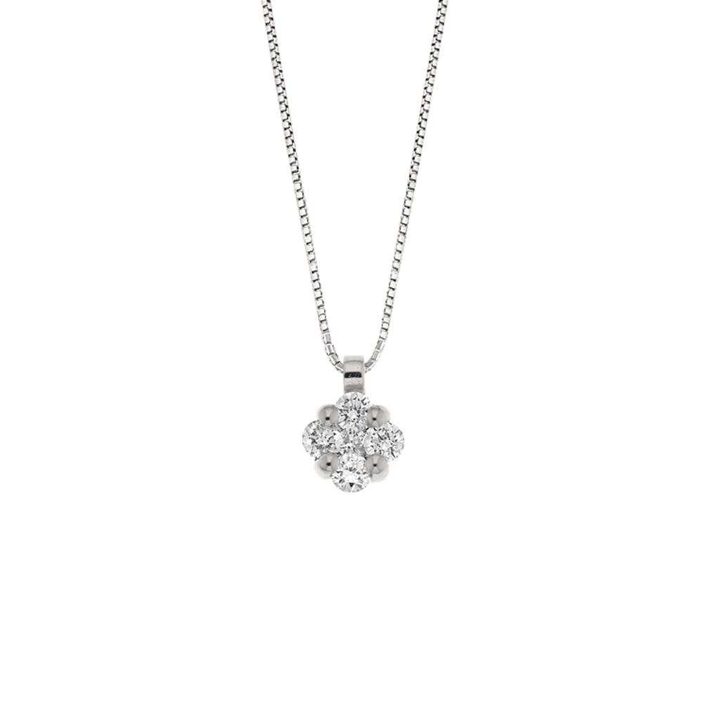 Lantisor din aur 18K cu pandantiv cu diamante 0,18 ct., model Orsini CI1641
