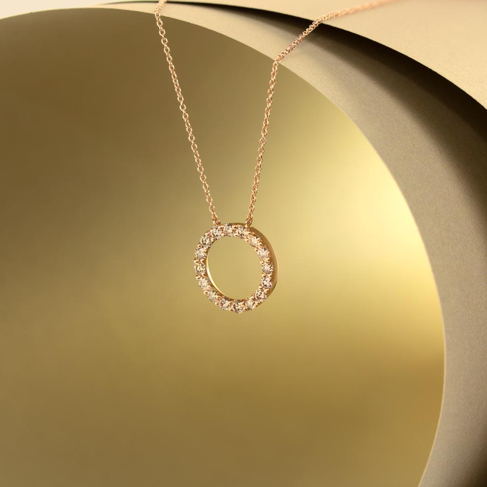 Lantisor din aur 18K cu pandantiv cu diamante 0,81 ct., model Orsini CI1643-BW