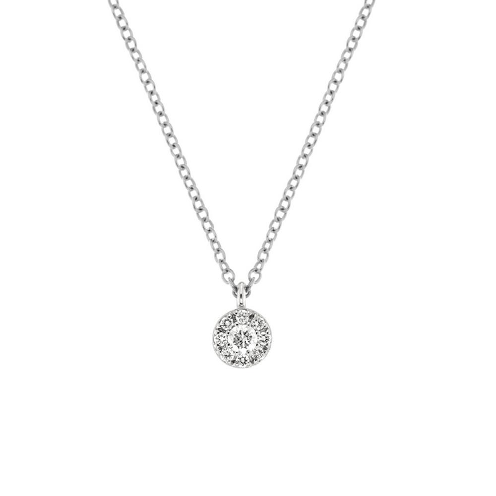 Lantisor din aur alb 18K cu pandantiv cu diamante 0,10 ct., model Orsini CI1655P