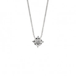 Lantisor din aur alb 18K cu pandantiv cu diamant 0,04 ct., model Orsini CI1683M