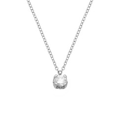 Lantisor din aur alb 18K cu pandantiv cu diamant 0,22 ct., model Orsini CI1712