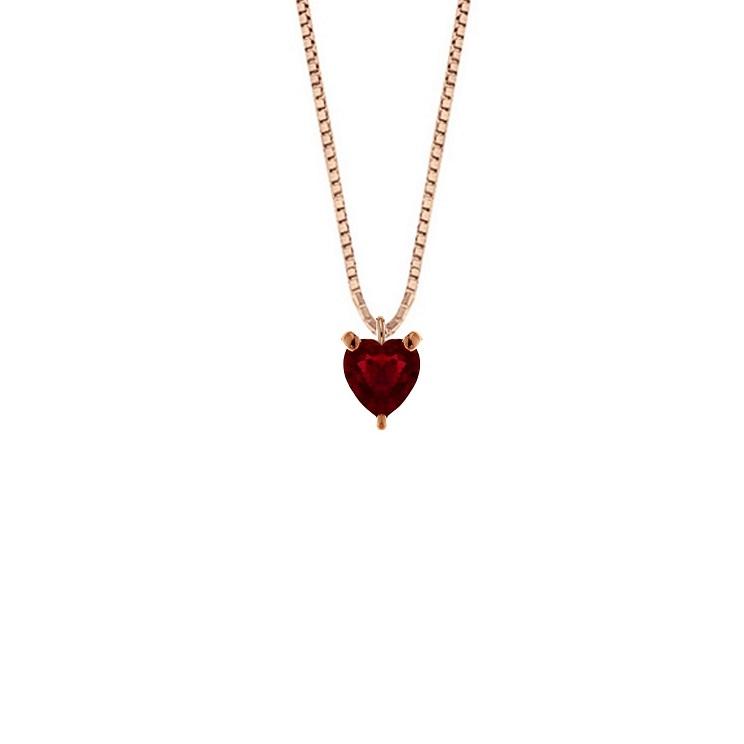 Lantisor din aur roz 18K cu pandantiv inima din rubin 0,40 ct., model Orsini CI1717R