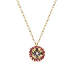 Lantisor din aur 18K cu pandantiv cu diamante 0,025 ct., safire 0,09 ct. si rubine 0,11 ct., model Orsini Romania Special CI1721-B