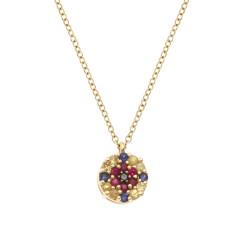 Lantisor din aur 18K cu pandantiv cu diamant 0,01 ct., safire 0,15 ct. si rubine 0,07 ct., model Orsini Romania Special CI1720-B