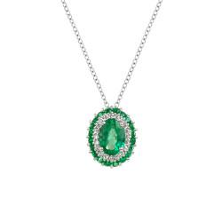 Lantisor din aur 18K cu pandantiv cu smarald 0,88 ct. si diamante 0,12 ct., model Orsini CI1722-S5X7