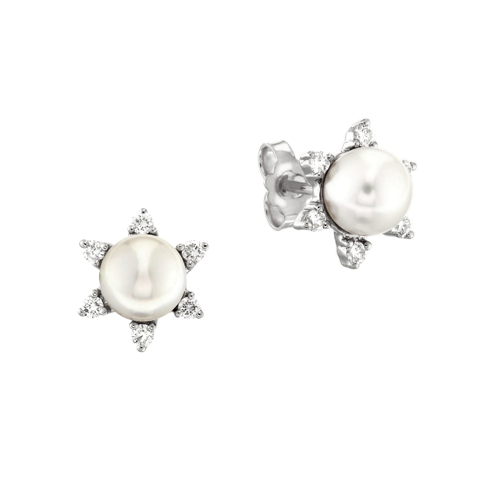 Cercei din aur 18K cu perle Akoya 1,00 gr. si diamante 0,31 ct., model Orsini OR0358