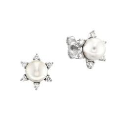Cercei din aur alb 18K cu perle Akoya 1,00 gr. si diamante 0,31 ct., model Orsini OR0358