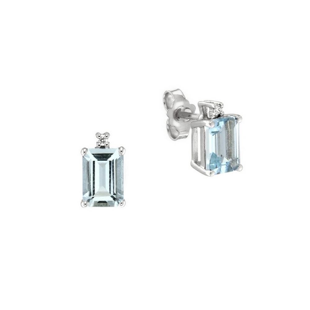 Cercei din aur 18K cu acvamarine 1,90 ct. si diamante 0,02 ct., model Orsini OR0585-5X7