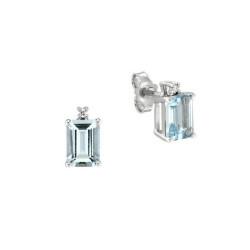 Cercei din aur alb 18K cu acvamarine 1,60 ct. si diamante 0,02 ct., model Orsini OR0585-5X7