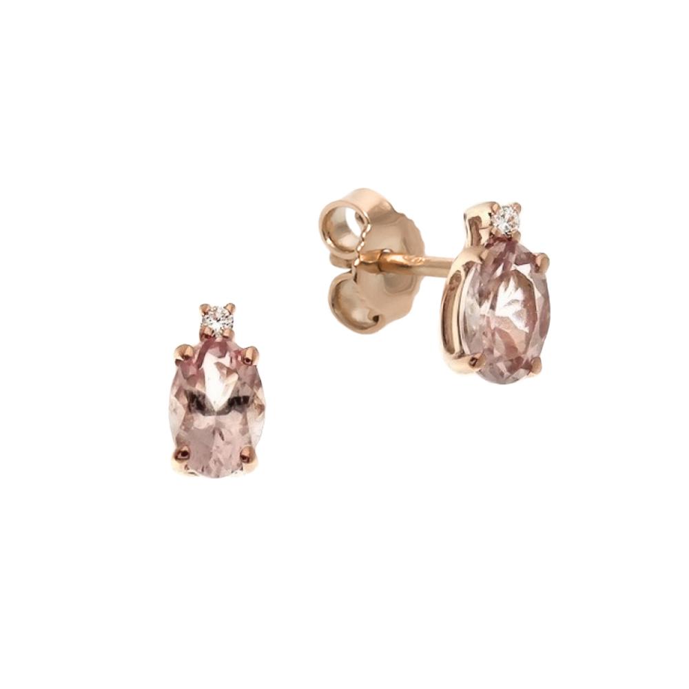 Cercei din aur 18K cu morganit 1,13 ct. si diamante 0,02 ct., model Orsini OR0586-M5X7
