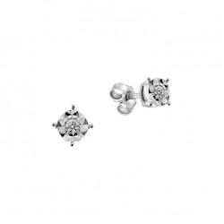 Cercei din aur alb 18K cu diamante 0,08 ct., model Orsini OR0605M