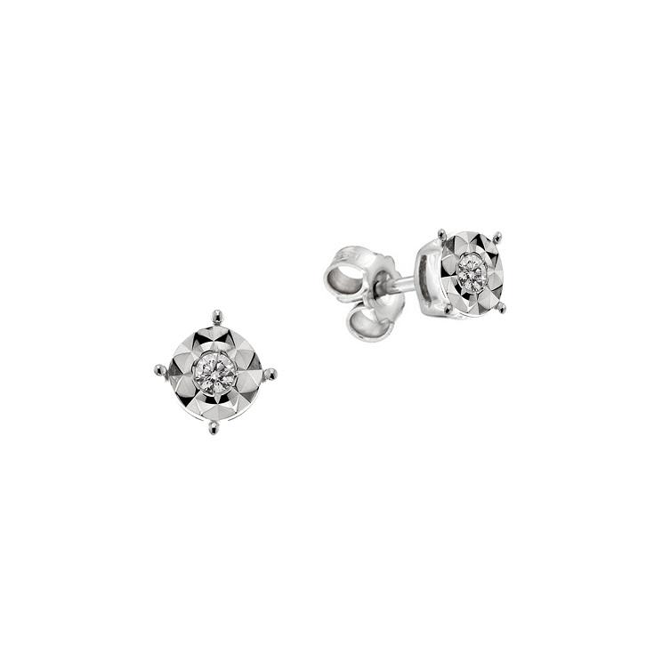 Cercei din aur 18K cu diamante 0,08 ct., model Orsini OR0605M