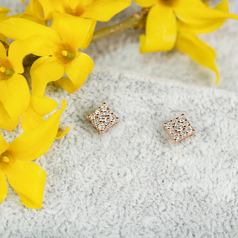 Cercei din aur 18K cu diamante 0,28 ct., model Orsini OR0620P