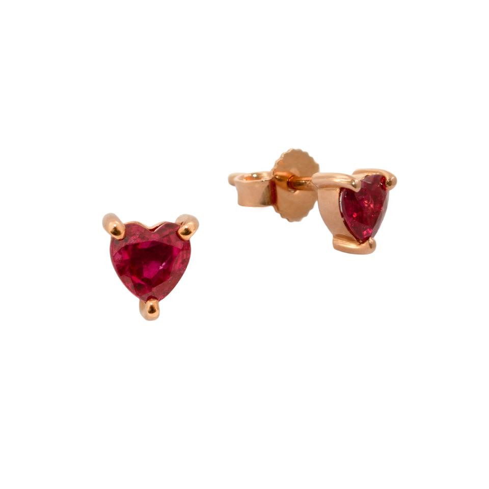 Cercei din aur 18K cu rubine in forma de inima 0,70 ct., model Orsini OR0640R