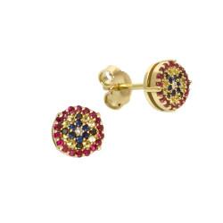 Cercei din aur galben 18K cu diamante 0,05 ct., safire 0,18 ct. si rubine 0,22 ct., model Orsini Romania Special OR0644-B
