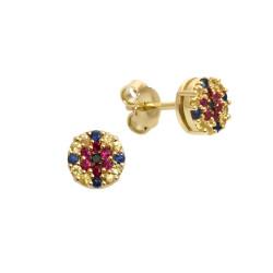 Cercei din aur 18K cu diamante 0,02 ct., safire 0,30 ct. si rubine 0,14 ct., model Orsini Romania Special OR0643-B