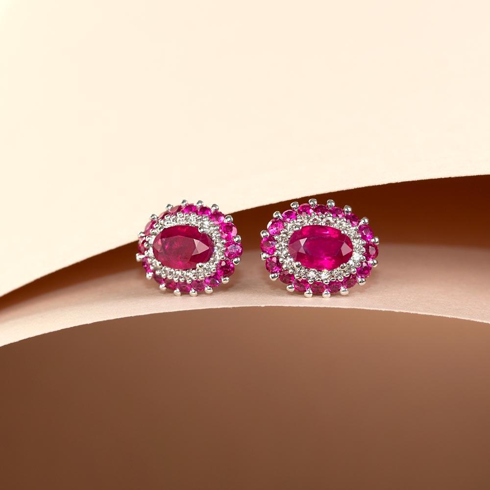 Cercei din aur 18K cu rubin 2,02 ct. si diamante 0,21 ct., model Orsini OR0645R4X6