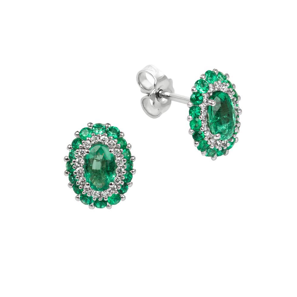 Cercei din aur 18K cu smarald 1,35 ct. si diamante 0,21 ct., model Orsini OR0645S4X6