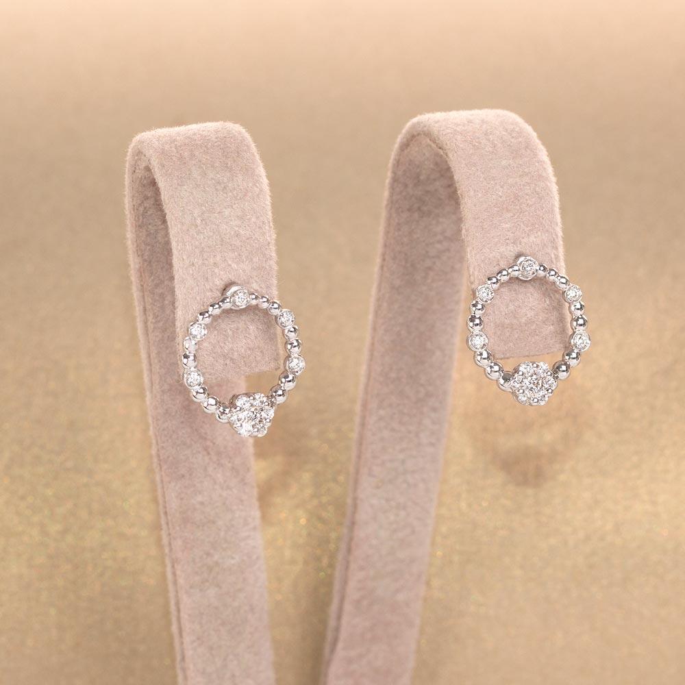Cercei din aur 18K cu diamante 0,14 ct., model Orsini OR0652