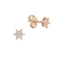 Cercei din aur roz 18K cu diamante 0,17 ct., model Orsini OR0655