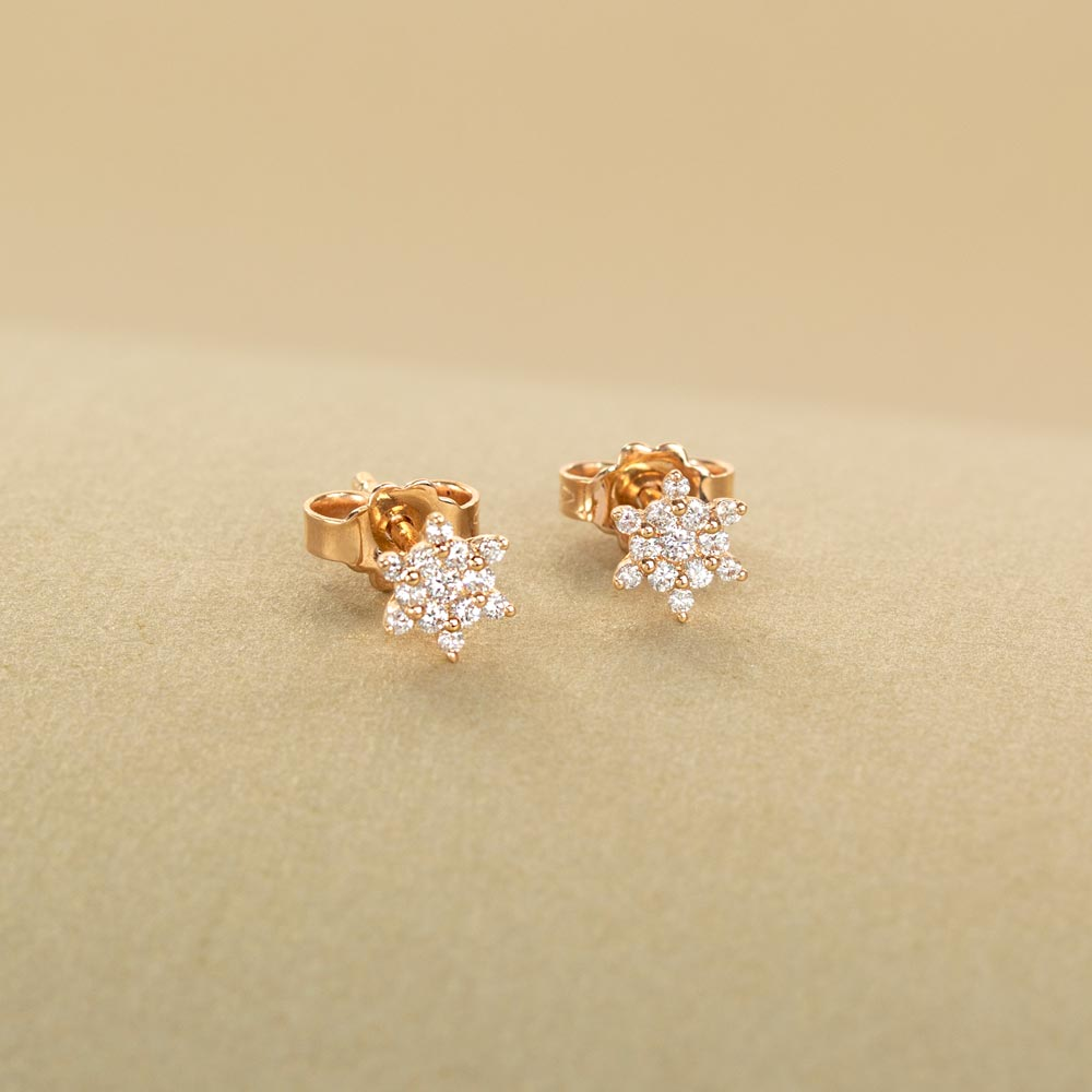 Cercei din aur 18K cu diamante 0,17 ct., model Orsini OR0655