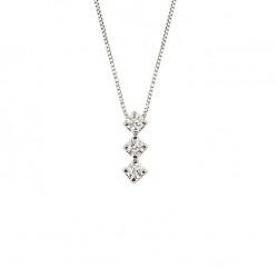 Lantisor din aur alb 18K cu pandantiv cu diamante 0,09 ct., model Orsini CI1110-1