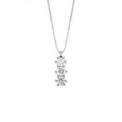 Lantisor din aur alb 18K cu pandantiv cu diamante 0,09 ct., model Orsini CI1365-1