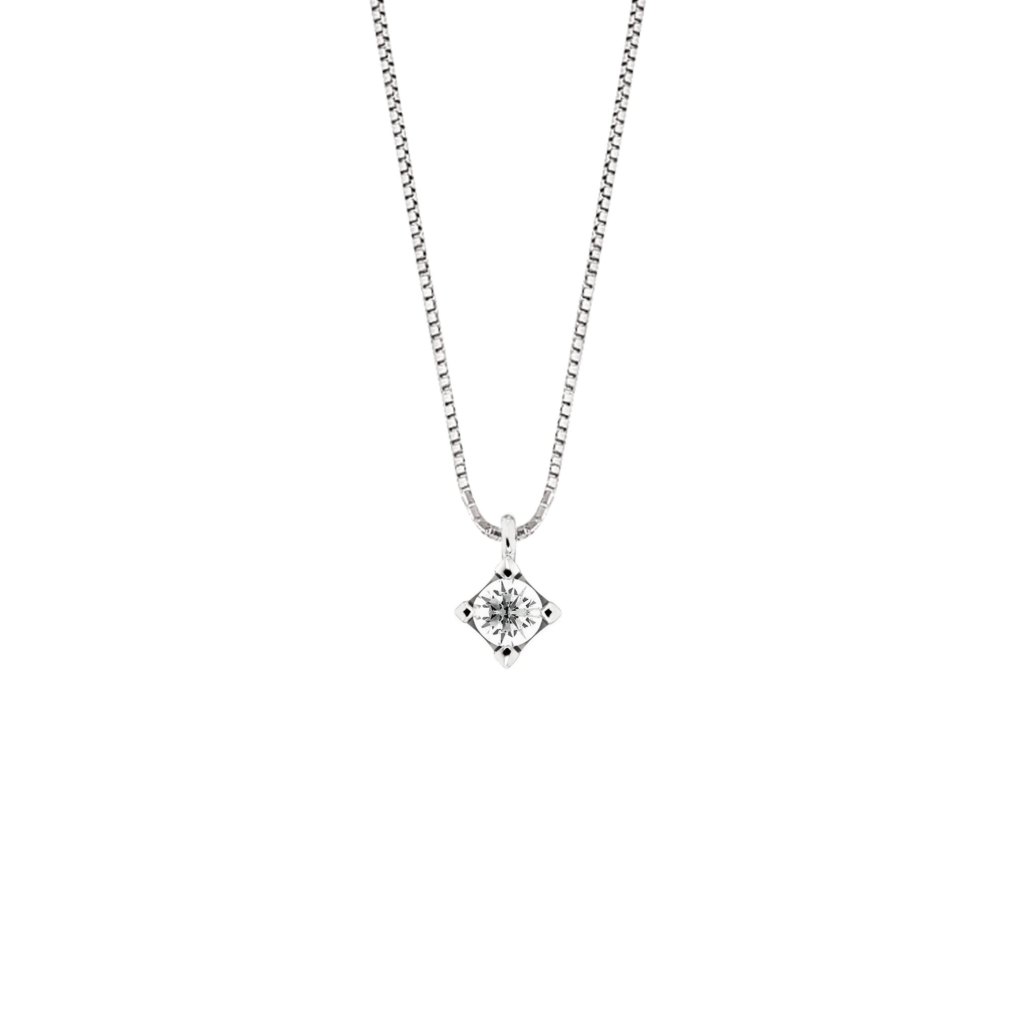 Lantisor din aur 18K cu pandantiv  cu diamant 0,05 ct., model Orsini CI1393-05