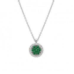 Lantisor din aur 18K cu pandantiv cu smaralde 0,27 ct. si diamante 0,18 ct., model Orsini CI1605-S