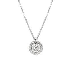 Lantisor din aur alb 18K cu pandantiv cu diamante 0,16 ct., model Orsini CI1671