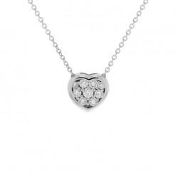 Lantisor din aur 18K cu pandantiv inima cu diamante 0,27 ct., model Orsini CI1677
