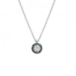 Lantisor din aur 18K cu pandantiv cu smaralde 0,10 ct. si diamante 0,10 ct., model Orsini CI1682-S