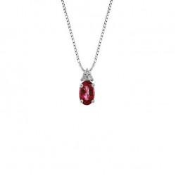 Lantisor din aur alb 18K cu pandantiv cu rubin 0,28 ct. si diamante 0,03 ct., model Orsini CI1690R4X6