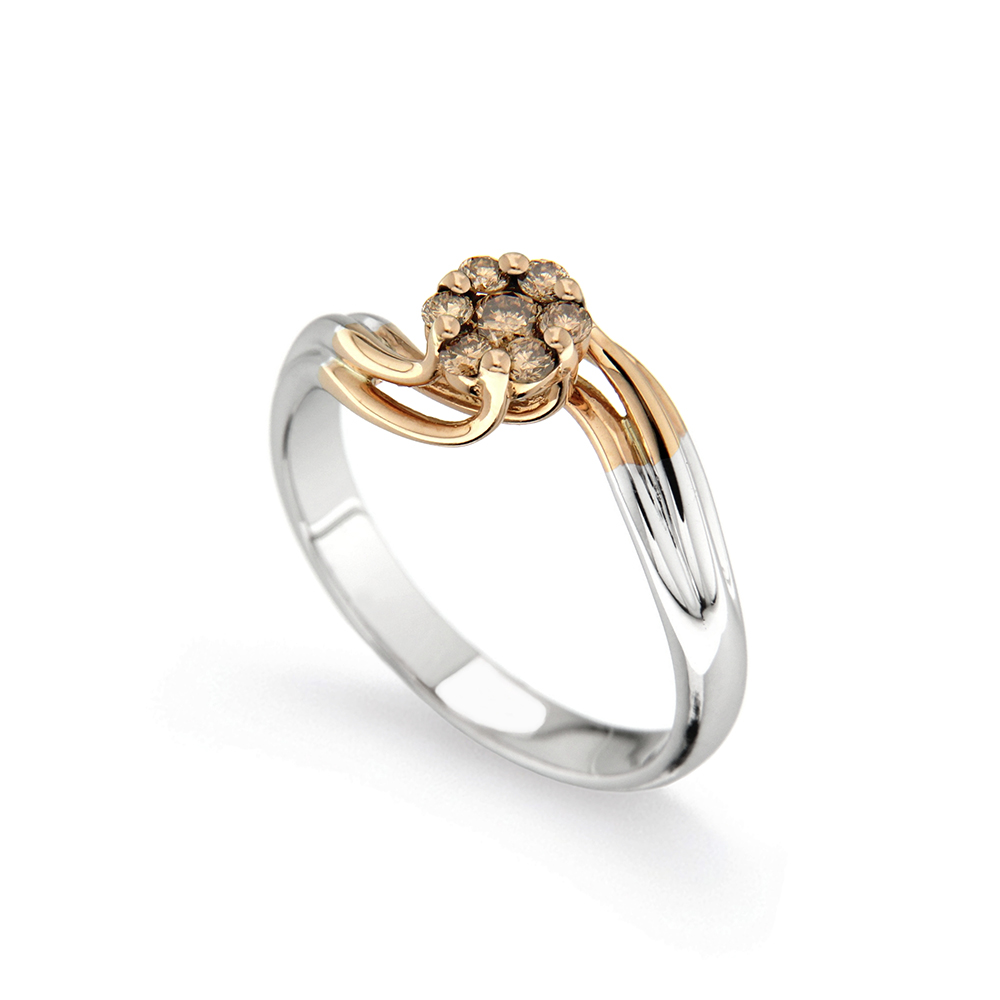 Inel De Logodna Din Aur Alb Si Aur Roz Cu Diamante Model 2670g Pbw