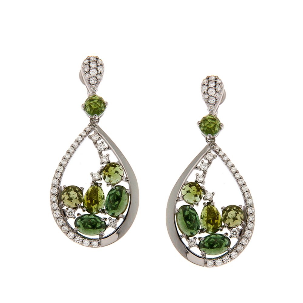 Regatul Unit jumătate de preț calitate superioară Cercei din aur alb cu diamante si turmalina verde, model OR0538-3