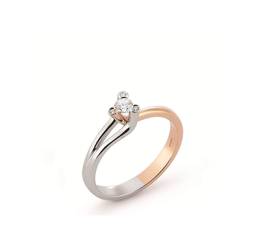 Inel De Logodna Din Aur Alb Si Aur Roz Cu Diamante Model 2432g Br
