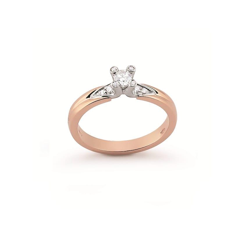 Inel De Logodna Din Aur Roz Si Aur Alb Cu Diamante Model 2446g Br